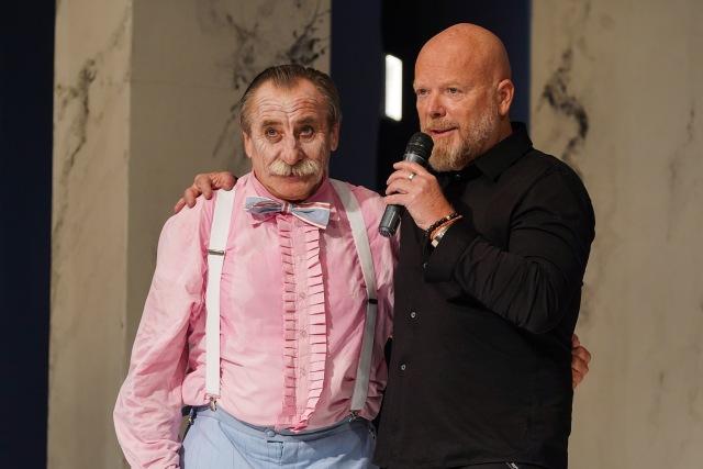 s Pavlem Zedníčkem bezprostředně po skončení premiérového představení Lakomec, 1. 11. 2019