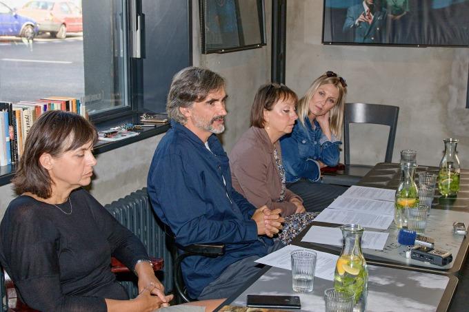 na tiskovém setkání v Anti.kvariátu DD (Eva Suková, Martin Myšička, Eva Kejkrtová-Měřičková, Blanka Cichon)